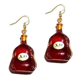Brown XO liquor bottle earrings